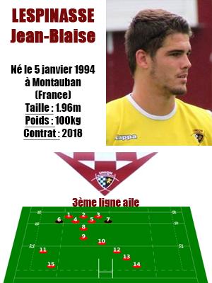 UBB - Fiche joueur Jean-Blaise Lespinasse