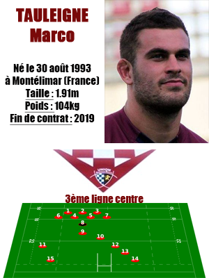 UBB - Fiche joueur Marco Tauleigne